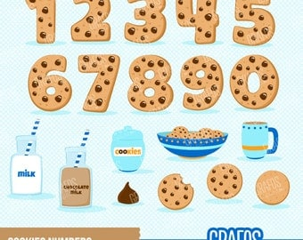 COOKIES NUMBERS - Digital Clipart Set, Cookies Clipart, Numbers Clipart