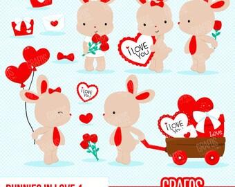 BUNNIES IN LOVE 1 - Digital Clipart Set, Bunnies Clipart, Valentine Clipart, Rabbits Clipart,