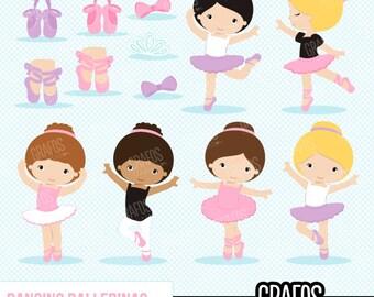 DANCING BALLERINA - Digital Clipart Set,  Ballerina Clipart, Ballet Clipart, Tutu Clipart