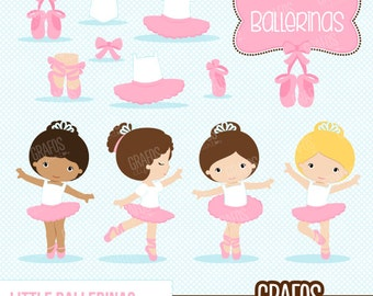 LITTLE BALLERINAS - Digital Clipart Set,  Ballerina Clipart, Ballet Clipart, Tutu Clipart, Ballet Slippers.