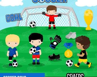 SOCCER BOYS - Digital Clipart Set, Soccer Clipart , Play Soccer Clipart, Sport Clipart