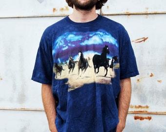 Vintage 90s Grunge Running Wild Horses Scene Blue Tie Dye Dark Wash T Shirt XXL