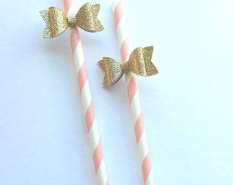 Gold Bow Straws-blush paper straws-glittered gold bows- straws with bows-paper bows straws with bows-1st birthday-baby shower-bridal shower