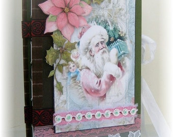 Photo Album, Scrapbook, Memory Book, Smash Book, Vintage Christmas Santa Shabby Chic