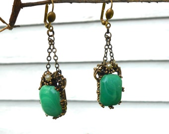 peking glass earrings … pierced chandelier or clip on … pearl, green marbled glass, brass, Renaissance, see matching necklace