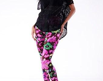 Designer, Yoga Leggings in Pink & Green Floral Print. Leggings Womens. Tight. Pants.