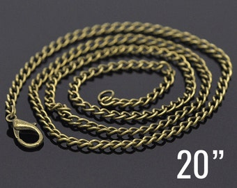 "24 Bronze Necklaces - WHOLESALE - Curb Chains - 3.5x2.6mm - 20""  -  Ships IMMEDIATELY  from California - CH124b"
