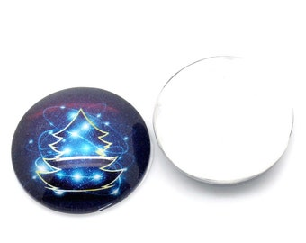 10 Christmas Cabochons - WHOLESALE - 25mm - Blue - Flat Back - Ships IMMEDIATELY from California - C290a