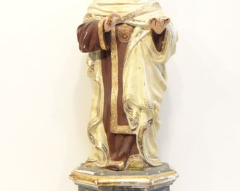 1800's Our Lady of Mount Carmel, Antique Virgin Mary Polychrome Wood Santos