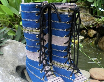 Womens Combat Boots In Blue Ethnic Karen Handwoven Textiles Mid Calf Lace Up Boho Boots - Britta