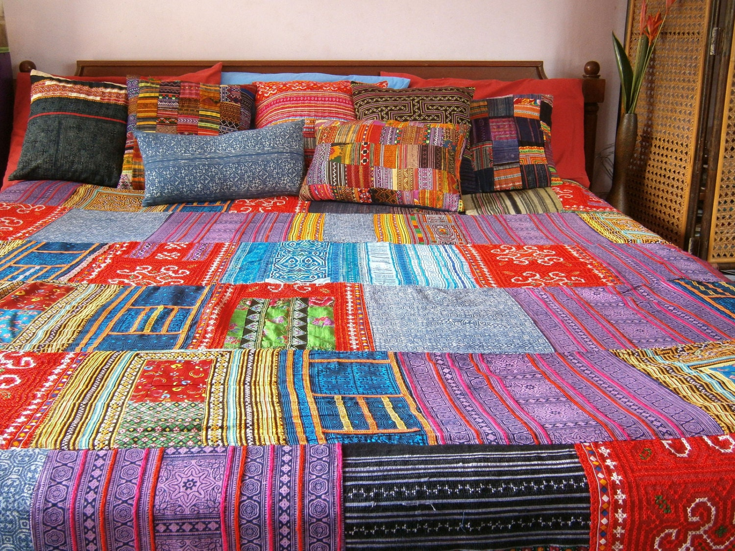 patchwork duvet cover hmong batik embroidery and applique. Black Bedroom Furniture Sets. Home Design Ideas