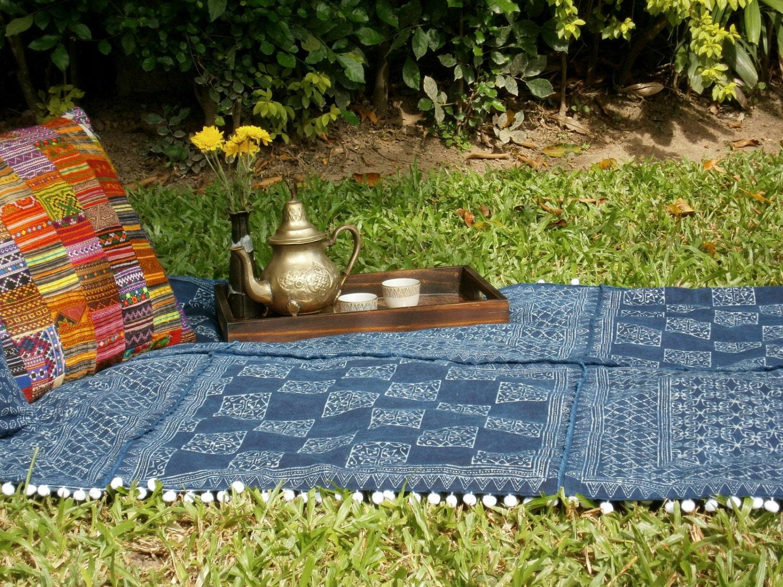Hmong Indigo Batik Patchwork Boho Throw Blanket Picnic