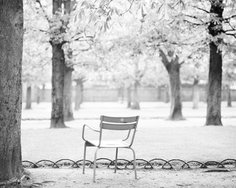 Paris Photograph - La Solitude, Chair in Jardin du Luxembourgn Parisian Garden, Neutral French Home Decor, Large Wall Art