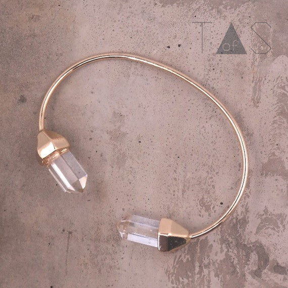 Crystal Bangle / Simple Open Bracelet / Gold Stacking Bracelet