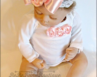 Newborn Baby girl outfit bodysuit romper beautiful soft satin pink rosettes, Perfect Take Home Outfit, Baby Girl Shower Gift, Baby Girl Diva