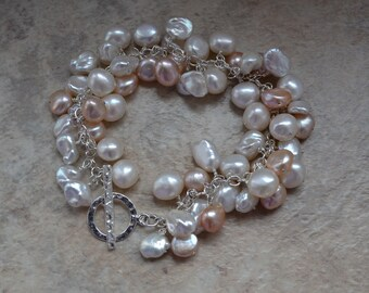 Freshwater Pearl Cluster Bubble Cuff Bracelet with Ivory and Peach Baroque and Keishi Cultured Pearls and Sterling Silver