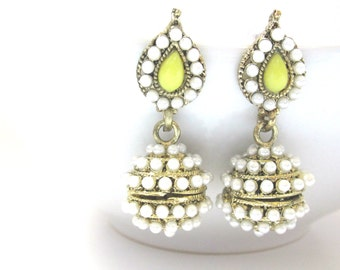Pearl And Gold Tone Ethnic Indian Earrings