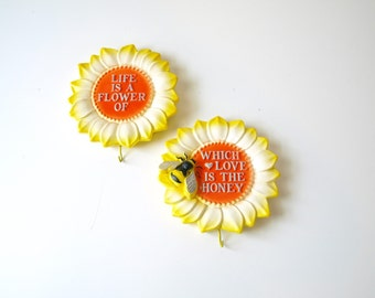 Vintage 80s chalkware honey bee and sunflower pair of key holders wall hangings