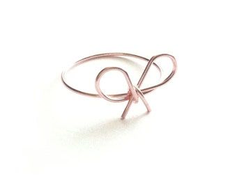 Rose Gold Bow Ring, Dainty Rose Gold Ring, Gold Bow Ring, Tiny Bow Ring, Skinny Ring, Simple Rose Gold Ring, Daughter Ring, Gift Under 20