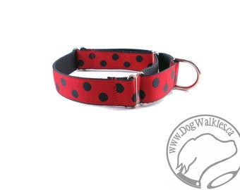 "Red Lady Bug Dog Collar // 1"" (25mm) Wide // Martingale Dog Collar or Quick Release // Choice of collar style and size // Red // Black"