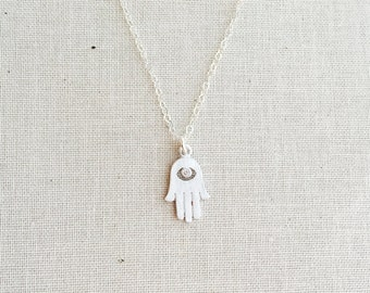 Silver Hamsa Hand Necklace, Sterling silver Chain, Sterling Silver Necklace,Silver Hamsa Hand Charm, Birthday Gift, Lucky Charm Necklace