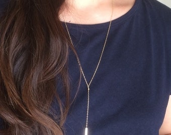Gold Fill Y Lariat Drop BAR Necklace also in Silver and Rose Gold Fill