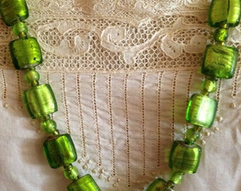 Vintage Chartreuse Green Italian Art Glass Opera Length Necklace