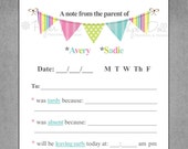 "Notepad Parent Excuse, School Note, Child Excuse Note, Pennant Flag Banner in - ""From the Parent of"" - Personalized Custom Notepad - Monica"
