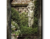 French Quarter Charleston SC Victorian Garden Statue Flowers Ivy Garden Wall Fine Art Photography on Gallery Canvas Wrap Giclee