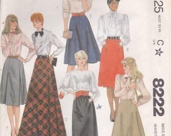 Versatile Skirt Pattern McCalls 8222 Size 16 Waist 30