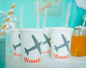 5 Personalized Airplane Themed birthday party cups straws and lids are extra