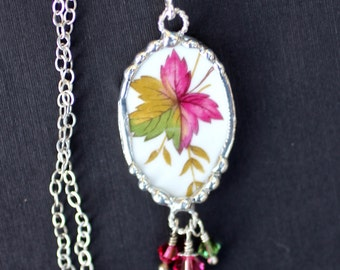 Necklace, Broken China Jewelry, Broken China Necklace, Oval Pendant, Fall Leaf, Sterling Silver Chain, Soldered Jewelry
