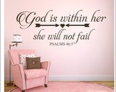 God is Within Her Decal She Will Not Fail Wall Decal Girls Nursery Decal Bedroom Decal Religious Wall Decal Vinyl Wall Decal Wall Lettering