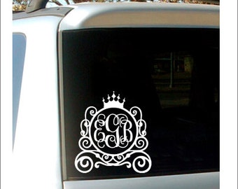 Princess Carriage Monogram Decal Car Decal Small Vinyl Decal Princess Vinyl Car Decal Carriage Monogram Girls Teen Personalized Decal Vinyl
