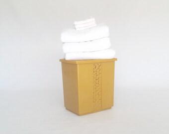 Vintage Plastic Hamper Yellow  Trash Can Kitchen Garbage Can Mod Storage Wastebasket FESCO Brand