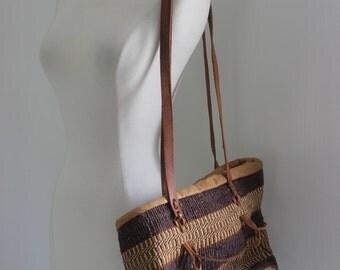 Womens Woven Purse. Leather detailing. BOHO purse