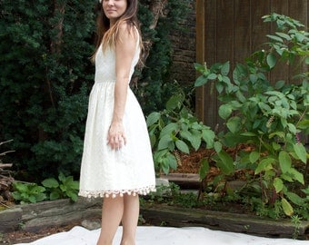 Vintage 50s Wedding Dress - Short Reception Dress, Brocade, Off-White, Ivory, Casual - XS/S