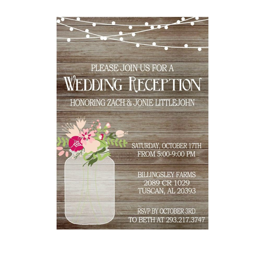 Invitation For Reception After The Wedding: Rustic Wedding Reception Invitation With Lights Mason Jar
