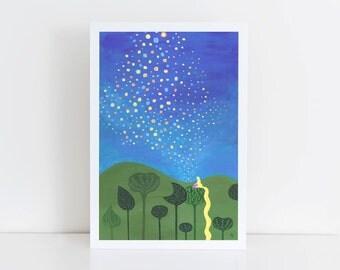 Tangled Floating Lanterns Art Print || acrylic painting, rapunzel, princess, disney inspired, girl's room, wall art, nursery, original art