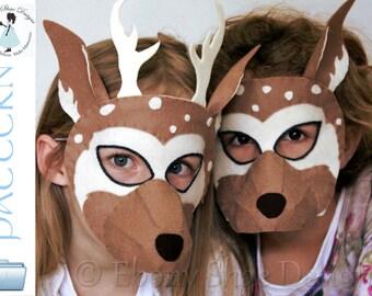 Felt Deer Mask PATTERN.  Instant Download sewing pattern PDF for felt reindeer mask kids costume.