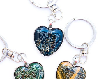 Circuit board keychain - geeky gift - techie IT - heart, resin
