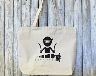 """Organic Canvas Tote Bag """"Cook More"""" by Uni-T"""