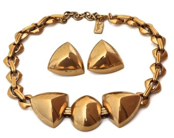 Vintage Yves Saint Laurent Gold Chunky Geometric Earrings Necklace Set