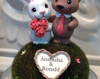 Animal Wedding Couple Cake Topper - Made to Order - Personalize Heart Wreath