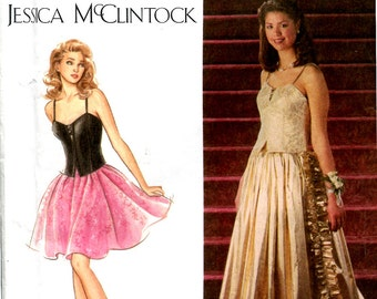 Jessica McClintock 2 Piece Dress Pattern Bustier Corset Bodice Mini Full Skirt  or Long with Train Size 12 14 16 UNCUT