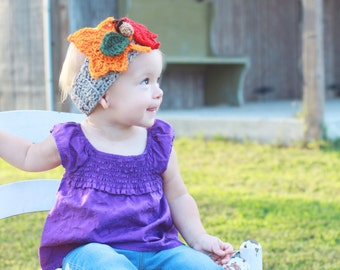 Autumn Leaves Headband, Heather Gray with Leaves and Acorn in Baby, Infant, Toddler Sizes
