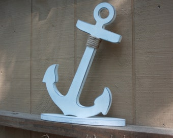 Wood Anchor on base Jumbo Rustic painted and aged 14 inch - 18 inches