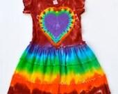 Rainbow Tie Dye Dress Heart Dress 4T Short Sleeves Hippie Girl Party Dress