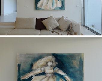 The girl - Original figurative art painting on canvas- modern art figurative girl movement dance dancer moment