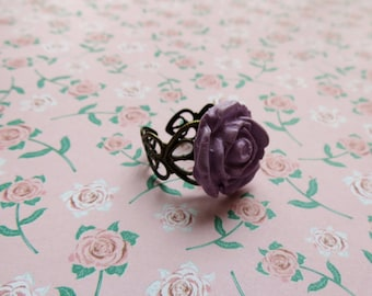 Lavender Rose Ring (Polymer Clay)